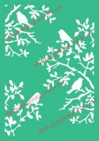 Трафарет Птицы на ветках, 10х15 см